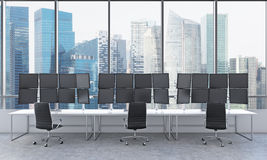Office with 24  black monitors, processing data, trading, singap Royalty Free Stock Photography