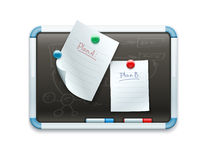 Office blackboard with pinned paper sheets and markers Royalty Free Stock Photography