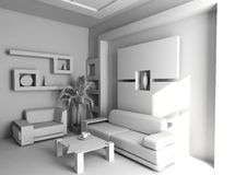 Office  blank interior. Office the rest room blank interior(3d Royalty Free Stock Photos
