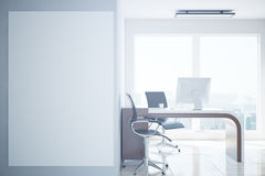 Office with blank whiteboard. Concrete office interior with workplace, city view and blank whiteboard. Mock up, 3D Rendering Stock Photos
