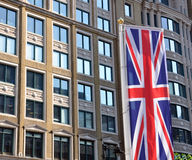 Office block & union jack flag Stock Photos