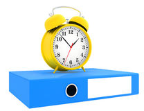Office blue folders and alarm clock isolated on. White background Stock Photo