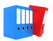 Office blue and red blank folder isolated on white Stock Images