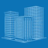 Office on blue. Vector office sketch on blue Royalty Free Stock Images