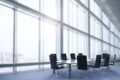 Office blur background. Empty office interior or conference room blur background stock image