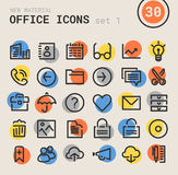 Office bold linear icons Royalty Free Stock Photography