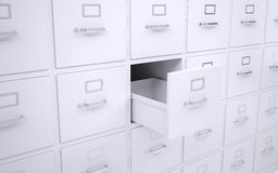 Office bookcase with drawers. One box is open Stock Images