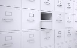 Office bookcase with drawers. One box is open. 3d rendering Stock Images