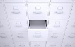 Office bookcase with drawers. One box is open Stock Image
