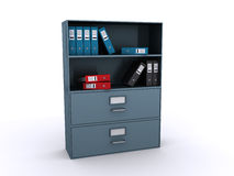 Office bookcase with files. On the shelves (3d render Royalty Free Stock Photo
