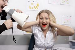 Office. Boss is screaming on secretary Stock Photos