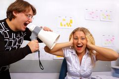 Office. Boss is screaming on secretary Royalty Free Stock Photo
