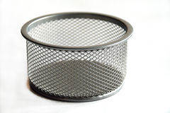 Office box. Metallic empty office box on white with mesh ornament Royalty Free Stock Image