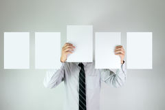 Office boy with five empty white cards Royalty Free Stock Photo