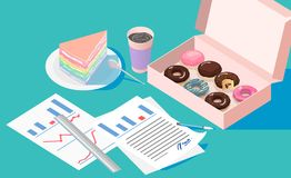 Free Office Break And Resting After Solving Task With Doughnut Box Crape Cake And Coffee Cup Stock Image - 129739511