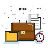 Office briefcase folder paper clock objects icon. Vector illustration Stock Photos