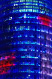 Office building. Agbar Tower details, night scene, Barcelona, Spain Royalty Free Stock Photo