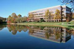 Office Building. In Front of a Lake Royalty Free Stock Photography