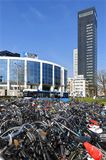 Office building Aegon and bike shed of station Stock Photo