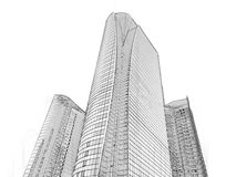 Office building architectural drawing sketch. Architectural drawing sketch of modern office building in the city stock image