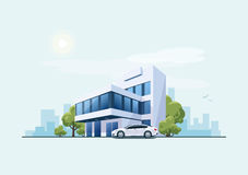 Office Building with Car and City Background Stock Image