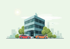 Office Building with Cars and City Background Stock Photography