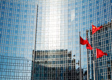 Office building. And the Chinese national flag in Beijing Royalty Free Stock Image