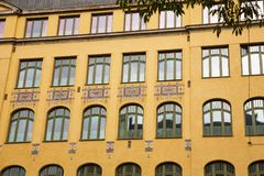 Old building in Stockholm. Office building with colorful ornament in Stockholm, Sweden Stock Photos