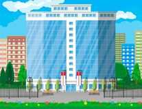 Office building exterior. Commercial building. Hotel, business centre. Skyscraper modern city house. Cityscape, road, tree and clouds. Vector illustration in Royalty Free Stock Images