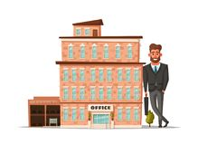Office building facade. Buisness concept. Exterior of house. Cartoon vector illustration. For web or print. Commercial property stock illustration