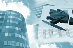 Office building and financial chart Royalty Free Stock Images