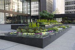 Office building front garden. Nice design of garden in front of a modern office building Stock Photography