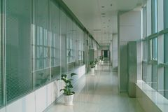 Office building hallway. Long hallway in the modern office building with windows Royalty Free Stock Images