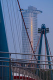 Office building and Holbeinsteg Bridge in the morning, Frankfurt Stock Image