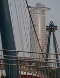 Office building and Holbeinsteg Bridge in the morning, Frankfurt Stock Photos