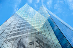 Office building with hundred dollar bills Royalty Free Stock Images
