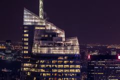 Office building illuminated at night Royalty Free Stock Images