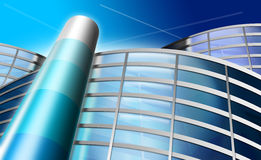 Office building or industry. Illustration of an office building, or general industry on a background of the blue sky Royalty Free Stock Images