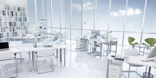 Office Building Interior White Modern Style Concept.  Royalty Free Stock Photography