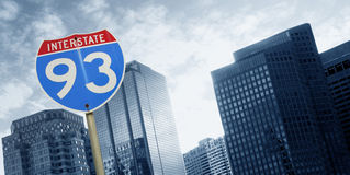 Office building and interstate 93 Stock Photography