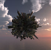 Office building on little planet over the ocean Stock Photo