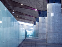 Office Building Lobby or airport Background. Modern interior. Glass and concrete Stock Photos