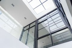 Office Building Lobby or hospital Background.glass doors. Moder stock image