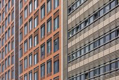 Office building made of metal panels with large Windows.  royalty free stock images