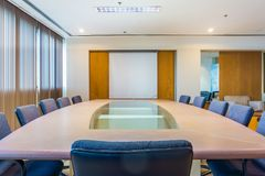 Meeting and conference room with projection screen. It is in an office building Royalty Free Stock Image