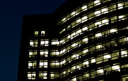 Office building at night. Zuidas, Amsterdam royalty free stock photos