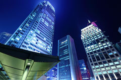 Office building at night in hong kong Stock Images