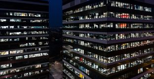 Office building at night Stock Photography