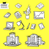 Office building, Office objects. (vector). Set illustration of office building and office objects.(EPS 12 file Stock Images