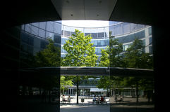 Office building patio. Patio of modern office building in the center of Warsaw, Poland stock photo